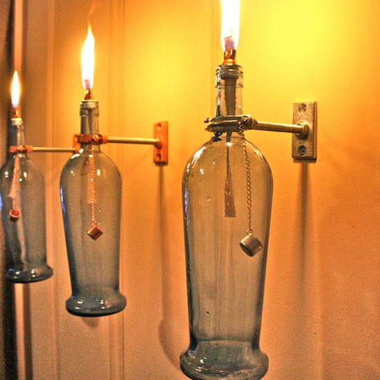 3 Blue Wine Bottle Oil Lamps  INDOOR  Modern by GreatBottlesofFire