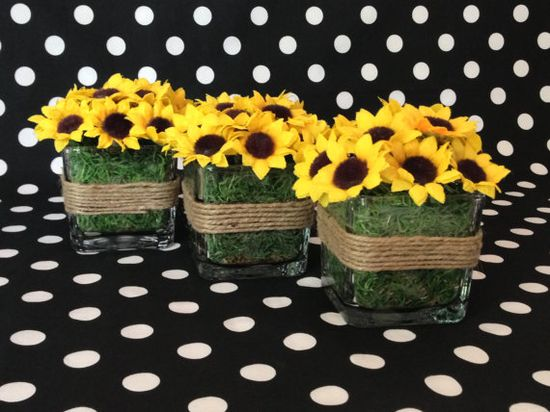 Sunflower and Jute Flower Arrangement by ThePetalHouse on Etsy