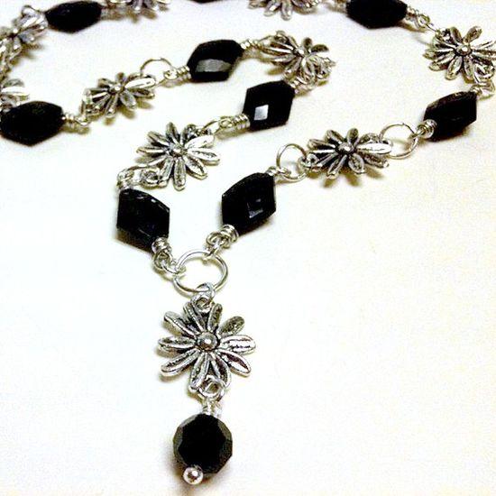 Black Necklace Silver Jewelry Flower Jewellery by cdjali on Etsy, $18.00