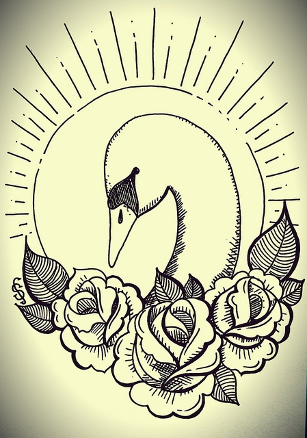 swan illustration, traditional tattoo style roses