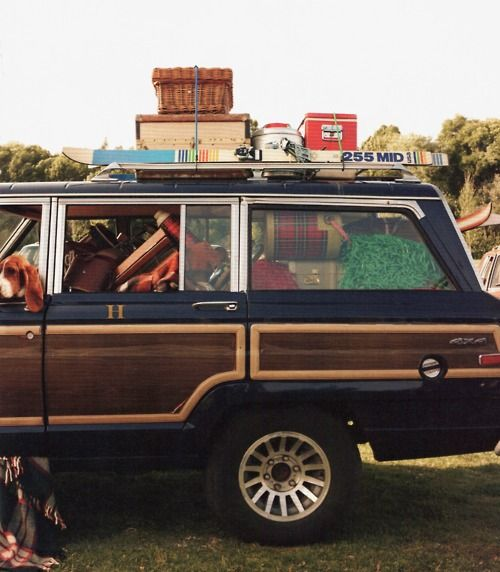 Loaded up #wagoneer #camping #luggage // dream car.
