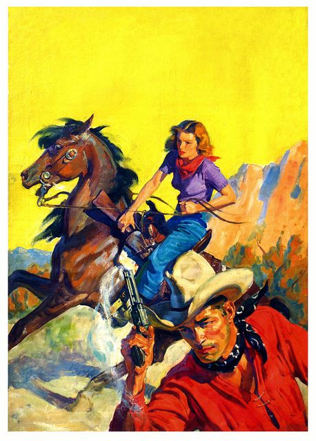 A dramatic western scene painted by Tom Lovell, 1938. #vintage #cowboys #cowgirls #1930s