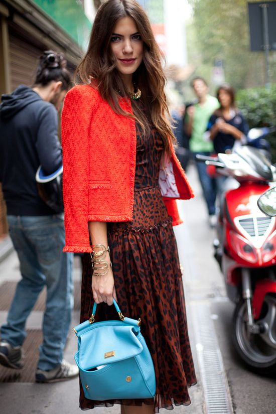 STREET STYLE SPRING 2013: MILAN FW - Disparate elements of leopard, turquoise and red come together effortlessly here.