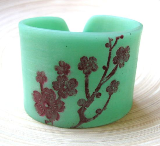 Jade cuff bracelet Asian floral blossoms, handmade jade jewelry by theshagbag on Etsy
