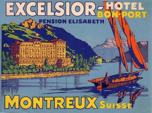 Excelsion - Hotel :: Bon-Port :: Pension Elisabeth :: Montreux - Suisse #vintage #travel #Switzerland