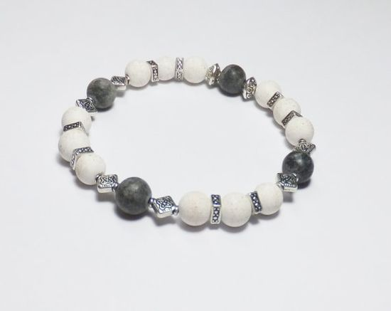 Chalk Turquoise Bracelet with Gray Marble and Silver-Plated Beads by Designs by Tamiza, tzteja on Etsy, $12.00 #jewelry, #bracelet, #beaded, #designsbytamiza, #noclasp, #handmade, #ooak, #blackandwhite, #beadedbracelet, #stretchbracelet