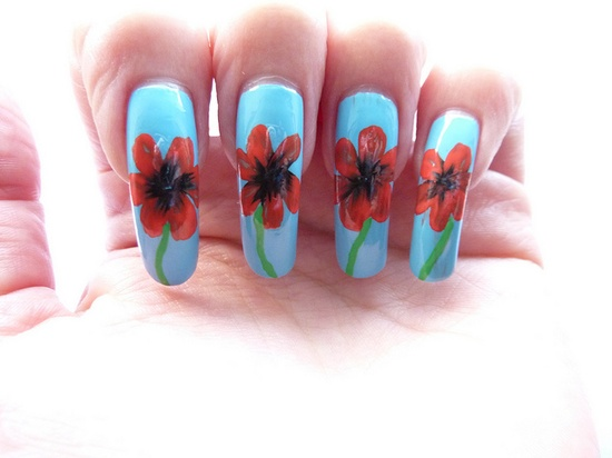 Remembrance Day Poppies Nail Art by englishroseamongthorns, via Flickr