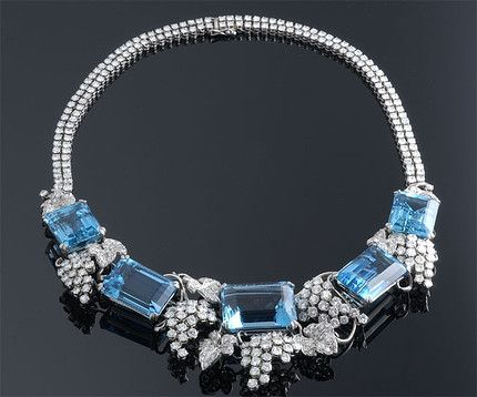 Emerald Cut Aquamarine and Diamond Necklace