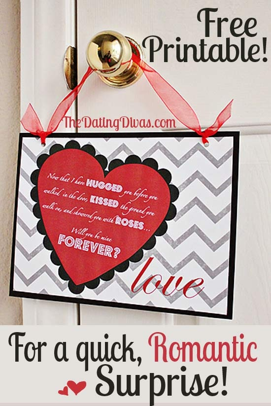 Ready for a SUPER easy #Vday idea? Print off this adorable sign, grab some Hersey's kisses, hugs, & some rose petals....and you are SET!! www.TheDatingDiva... #valentines #freeprintable #anniversary