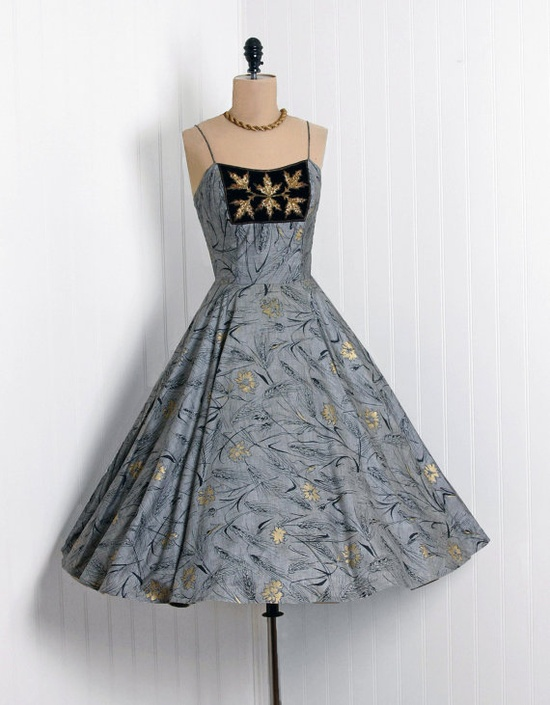 1950's Exquisite Steel-Gray & Metallic-Gold Scenic Floral-Print Cotton  *Seductive Thin-Straps Plunge Embroidered-Beaded Velvet Sleeveless  *Cocktail-Length Fitted-Waist Full Circle-Skirt & Matching Bolero-Jacket