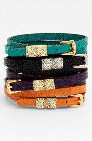 Michael Kors Leather Double Wrap Bracelet