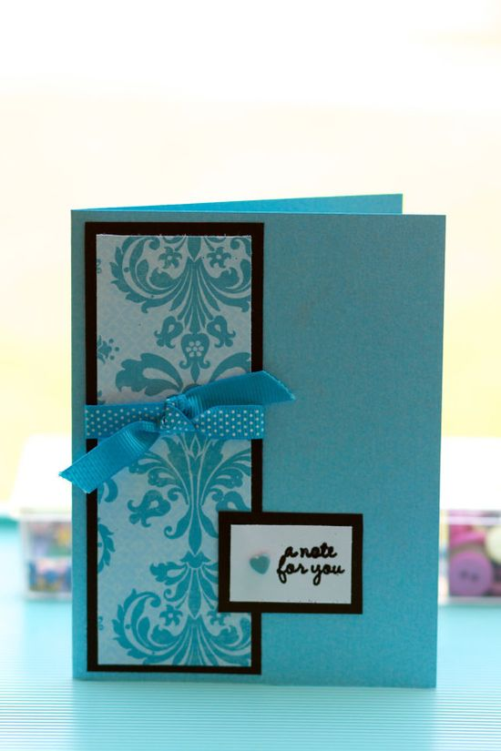 """""""A Note for You""""  Blue Any Occasion Handmade Card"""