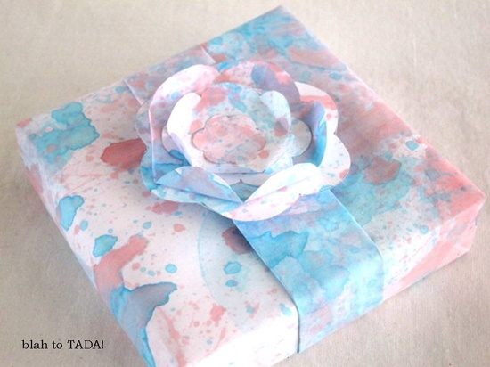 blah: plain paper and tinted bubbles/ TADA!: easy gift wrapper