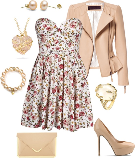 """Nude Floral"" by bubblyduck ❤ liked on Polyvore"