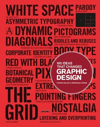 """100 Ideas that Changed Graphic Design by Steven Heller.     New in the """"100 Ideas that Changed..."""" series, this book demonstrates how ideas influenced and defined graphic design, and how those ideas have manifested themselves in objects of design. The 100 entries, arranged broadly in chronological order, range from technical (overprinting, rub-on designs, split fountain); to stylistic (swashes on caps, loud typography, and white space); to objects (dust jackets, design handbooks); and methods."""