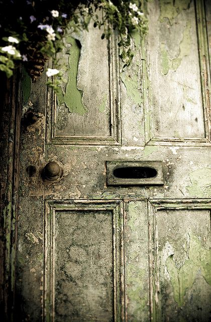Old door with shades of green.