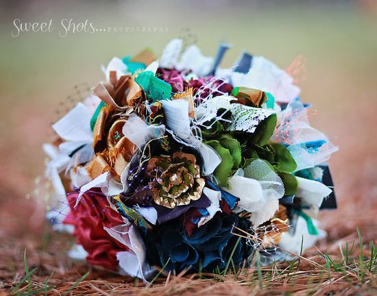 #rainbow #jewel #peacock #colorful #fabric #flower #brooch #bouquet #vintage #recycled #upcycled #wedding #bride #eco #green #turquoise