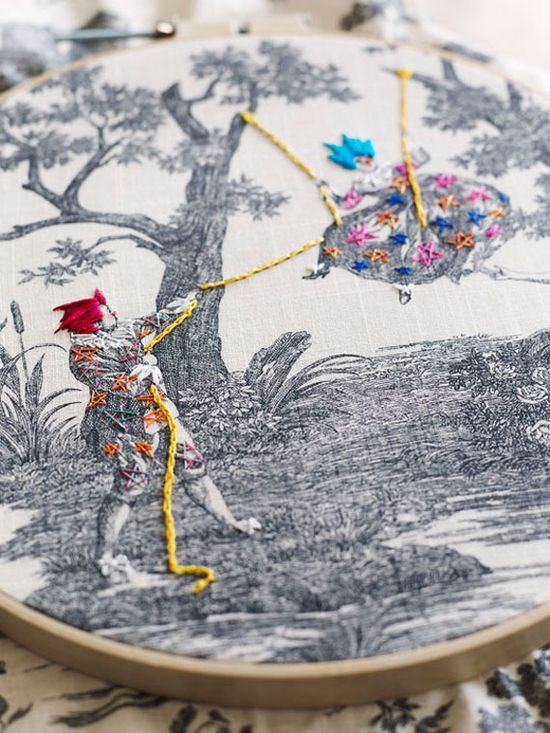 We're smitten with Richard Saja's eye-catching embroidery.