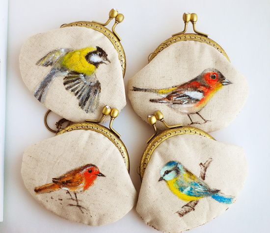 Garden bird Hand painted Vintage Purse via Etsy.