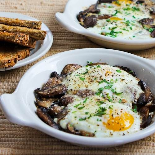 Baked Eggs with Mushrooms and Parmesan by kalynskitchen #Eggs #Mushrooms #Light