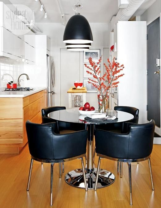 modern interior design and decorating with black and white and red color