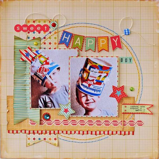#papercraft #scrapbook #layout     Loving this happy layout--picture perfect!