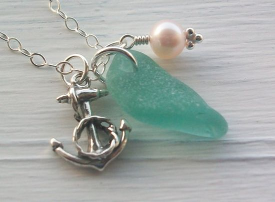I love the anchor with the sea glass.