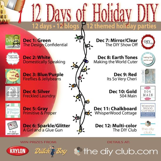 12 days  12 blogs  12 color-themed parties  Get those projects ready and head over to enter starting Dec 1 at the DIY club