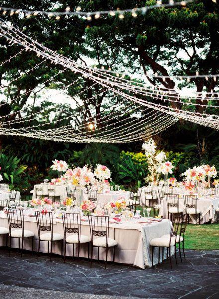 Wedding Reception Lighting - Outdoor Canopy of Lights! Garden wedding.