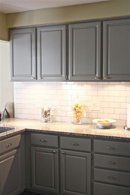 Gray cabinets in Bedford Gray by Martha Stewart and white subway tile with gray grout. Can I paint cabinets?!