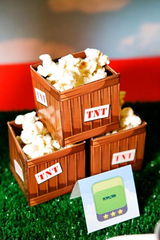 Popcorn in TNT boxes