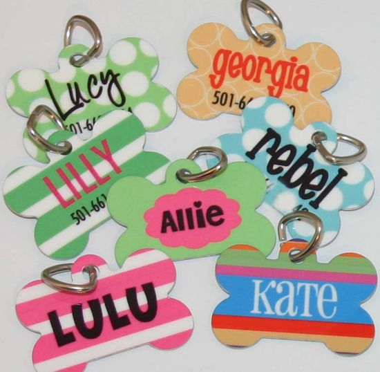 """Personalized Dog Tag Multicolored stripe background, with LuLu and phone number in """"Mixer"""" font. $10.00, via Etsy."""