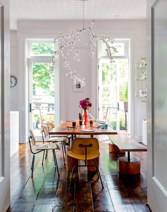 Cool and lovely dining room with a lovely chandelier