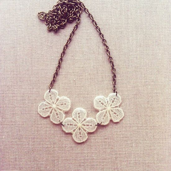 Ivory Lace Resin Necklace Bridesmaid Necklace by lowelowejewelry, $28.00
