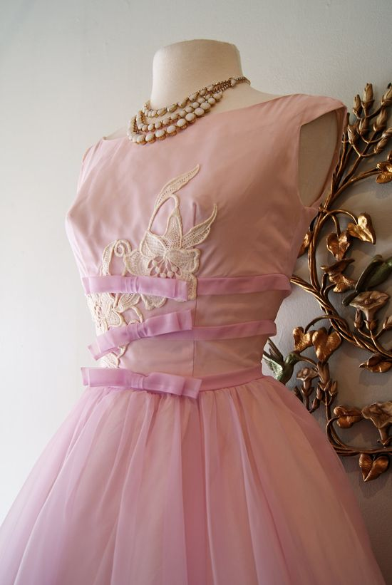 Vintage 1950s Lavender Chiffon Party Dress