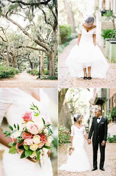 cute dress, bird cage veil, and pretty bouquet!
