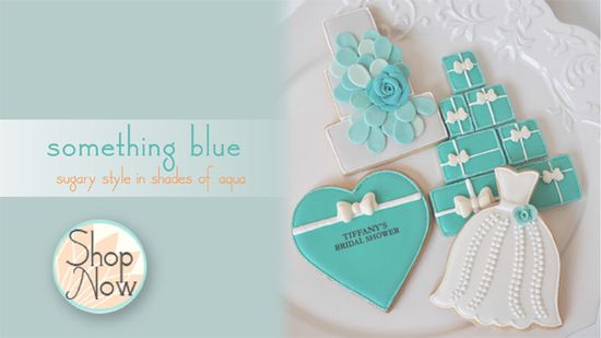 something blue - decorated cookies inspired by Tiffany