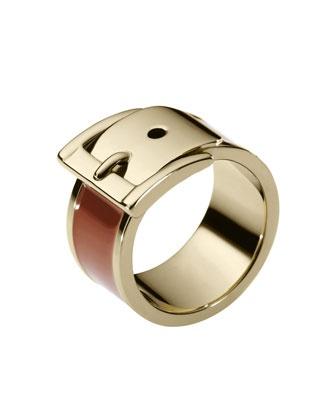 Michael Kors Exclusive Wide Buckle Ring, Brown.