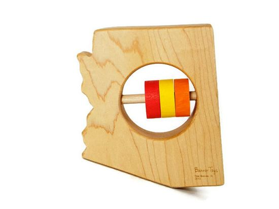 ARIZONA State Baby Rattle  Modern Wooden Baby Toy  by BannorToys, $15.00