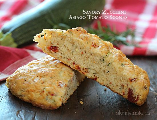 Savory Zucchini Asiago Tomato Scones - savory scones made with shredded zucchini, sun dried tomato, Asiago cheese and fresh rosemary. Almost smells like pizza when they comes out of the oven!