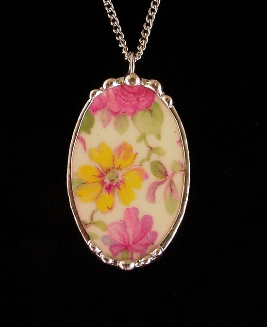 Broken china jewelry pendant vintage Royal Winton Summertime Chintz oval by Dishfunctional Designs