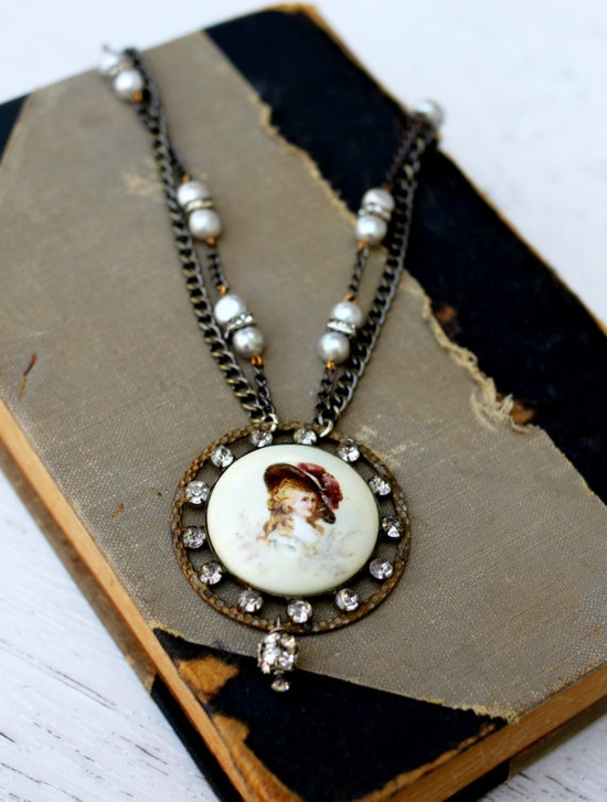 vintage inspired assemblage necklace