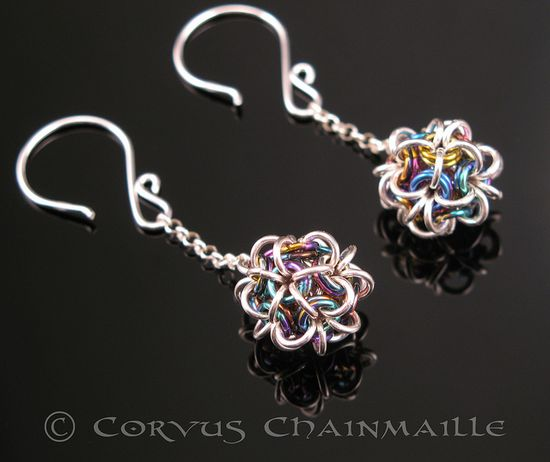 Japanese Ball earrings by Redcrow at Corvus Chainmaille, via Flickr
