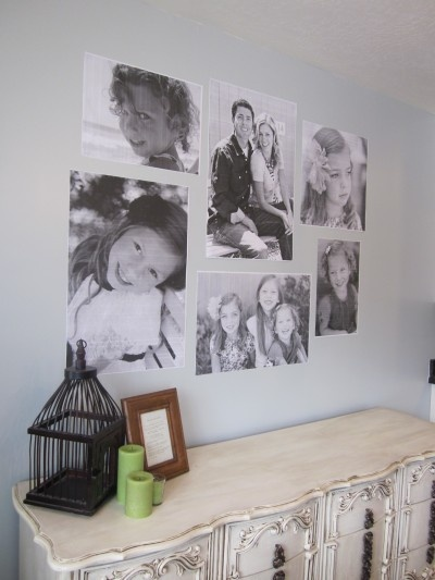 Black and White Photo wall for under $10
