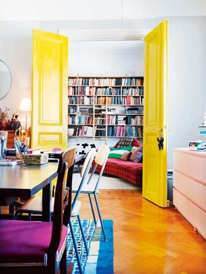 white walls with pop of color on doors!!! yes!