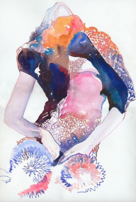 Watercolour Fashion Illustration Print - couture ink 4 Miu Miu . silverridgestudio