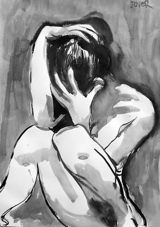 """Saatchi Online Artist: Loui Jover; Pen and Ink, 2012, Drawing """"stricken"""" #BlkID """"why are you so paranoid"""""""