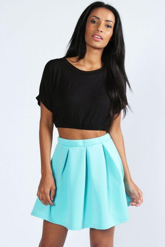 Neon Colors For Hot Summer 2013, Leanne Box Pleat Scuba Skater Skirt
