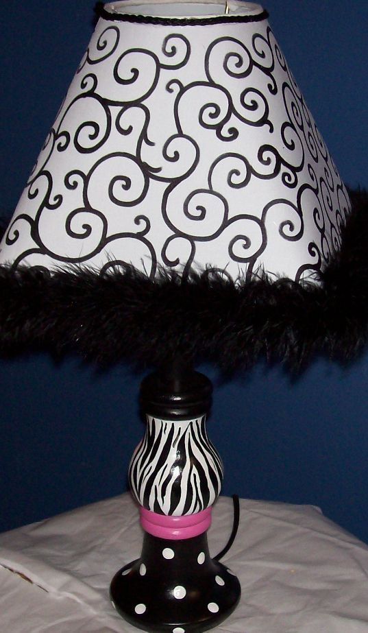 Lamp Child Teen Hot Pink Black Zebra Room Decor by spoiltrottn, $59.95