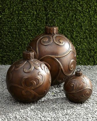 Christmas Ornaments ~ Use any type ornament, then use a hot glue type glue to make design. Let dry then spray paint..